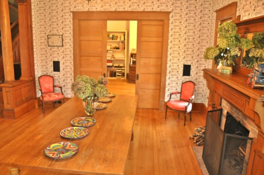 Eastern Dining Room, with show fireplace, accessible to front porch.