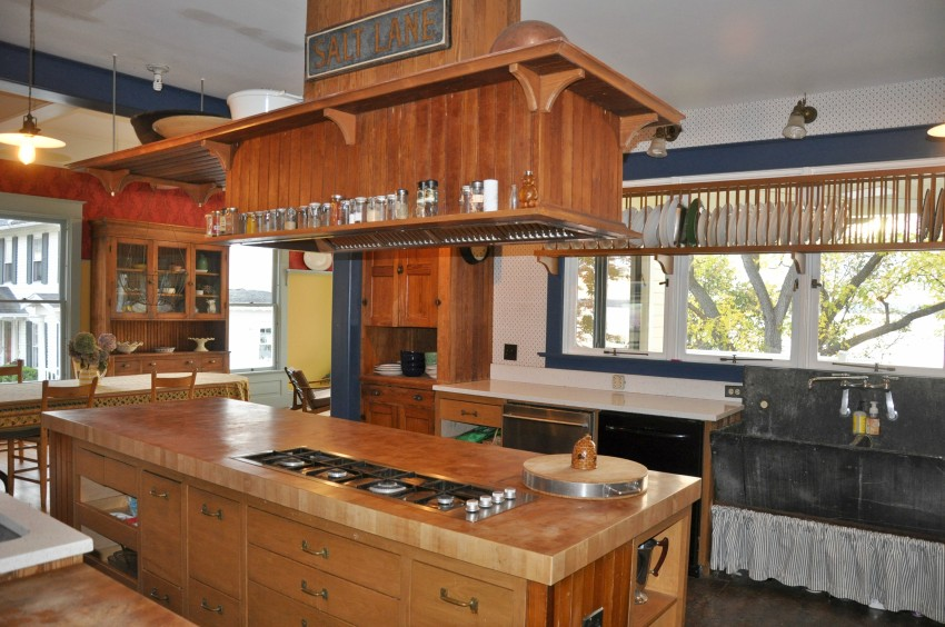Kitchen is on the western side of the house with access to the big lakeside deck, views over water.