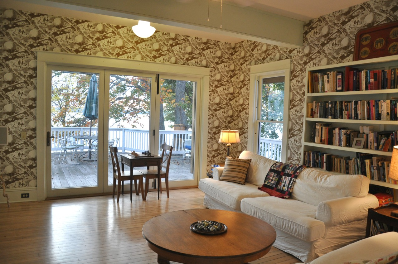 Family Room, looks out to Cayuga Lake.